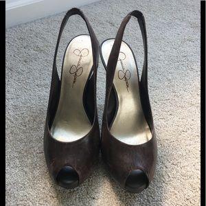 Jessica Simpson peep toe platform heels, size 6.5